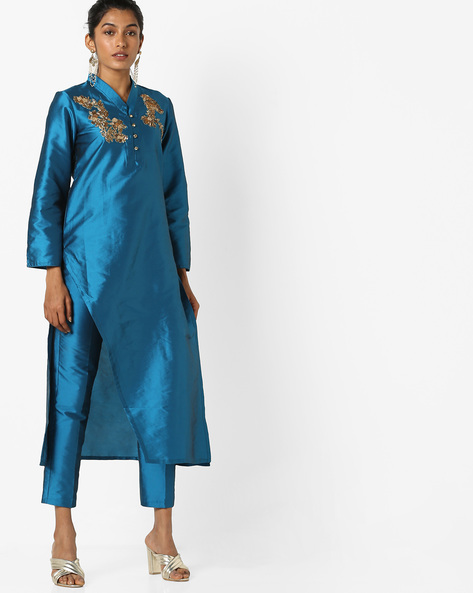 Straight Kurta With Ankle-Length Pants By AJIO ( Blue )