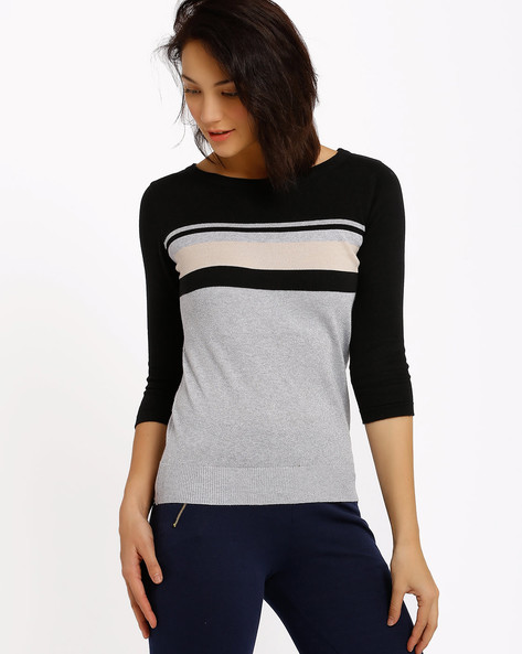 Striped Pullover By Annabelle By Pantaloons ( Grey )
