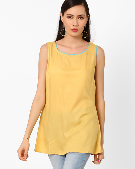 Slim Fit Sleeveless Top With Embroidery By AJIO ( Yellow )