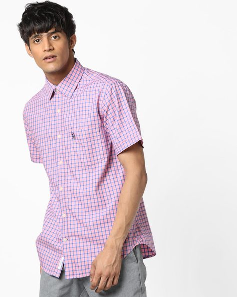 Checked Shirt With Curved Hemline By U.S. Polo Assn. ( Assorted )