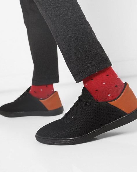 N9-Treated Panelled Sneakers By AJIO ( Black )