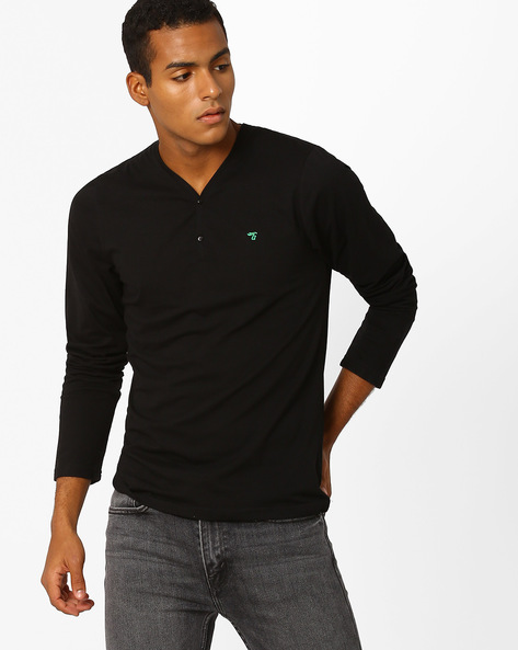 Slim Fit Henley T-shirt By The Indian Garage Co ( Black )