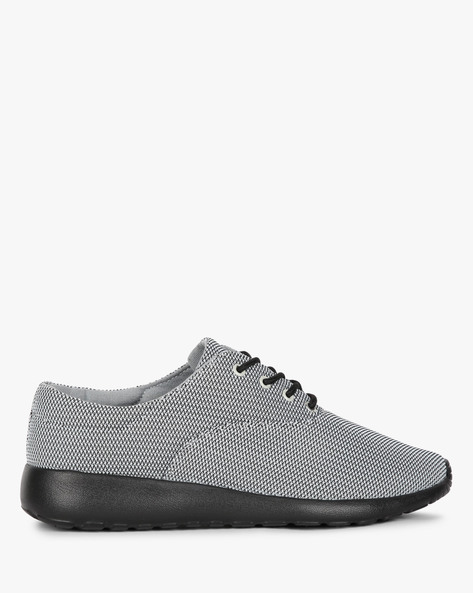 Textured Low-Top Sneakers With Lace-Up By AJIO ( Grey )