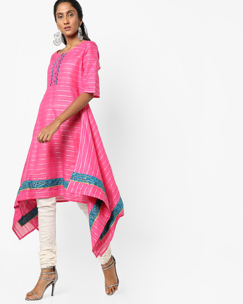 Striped Kurta With Handkerchief Hems By Jiyaa ( Fuchsia )