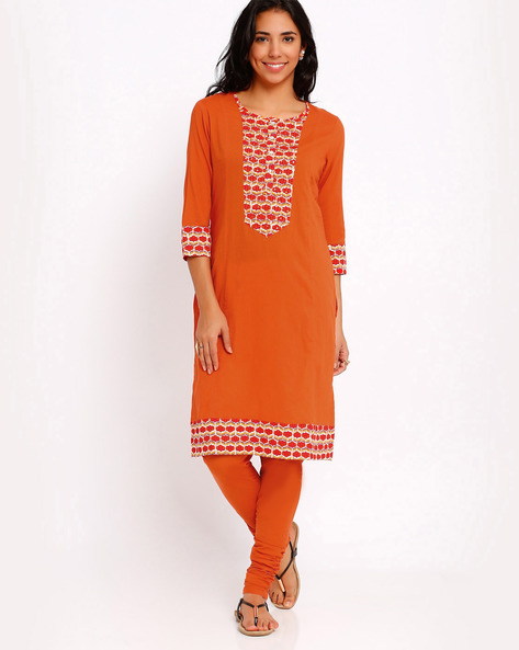 Kurta With Contrast Hems By AJIO ( Orange )