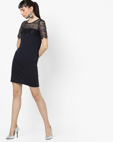 Sheath Dress With Lace Yoke By Only ( Nightsky )