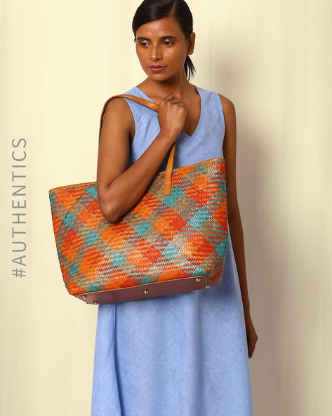 Handcrafted Natural Fibre Tote Bag By Indie Picks ( Multi )