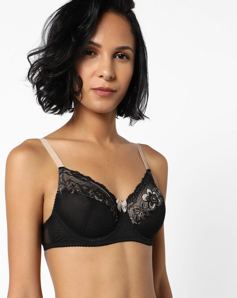 Underwired Bra With Floral Lace By Enamor ( Black )