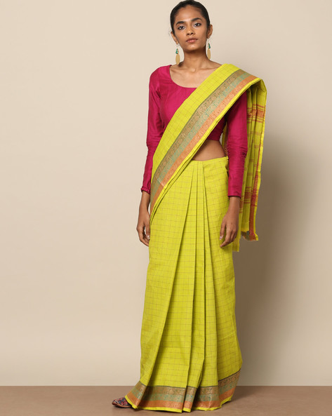 Kanchi Cotton Saree With Woven Border By Indie Picks ( Green ) - 460164710001
