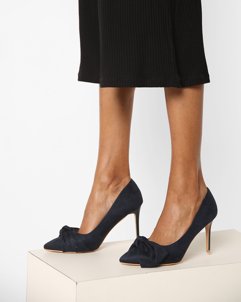 Pointed-Toe Pumps With Bow By AJIO ( Blue )