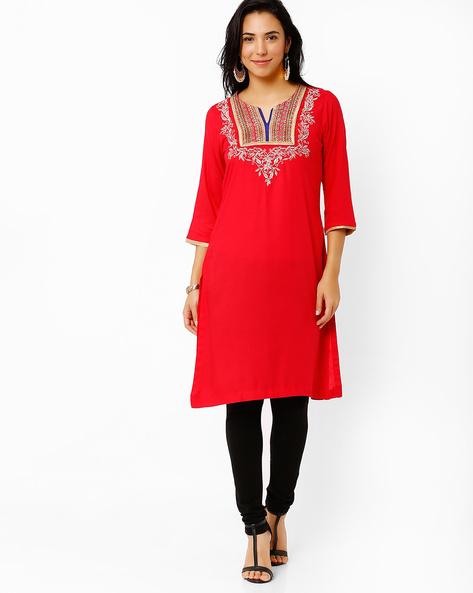 Zari Embroidered Kurta By Rangriti ( Red )