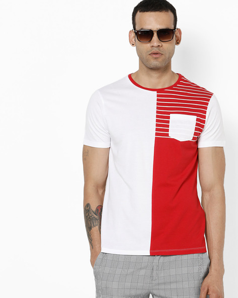 Half & Half T-shirt With Patch Pocket By AJIO ( Red )