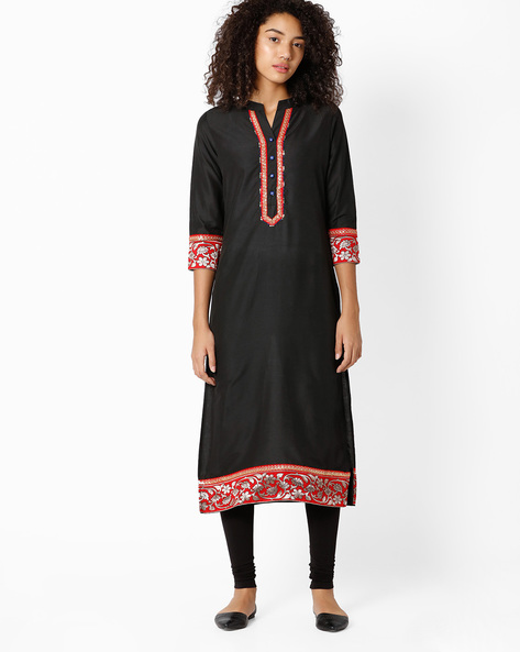 Straight Kurta With Mandarin Collar By Indian Ink ( Black )