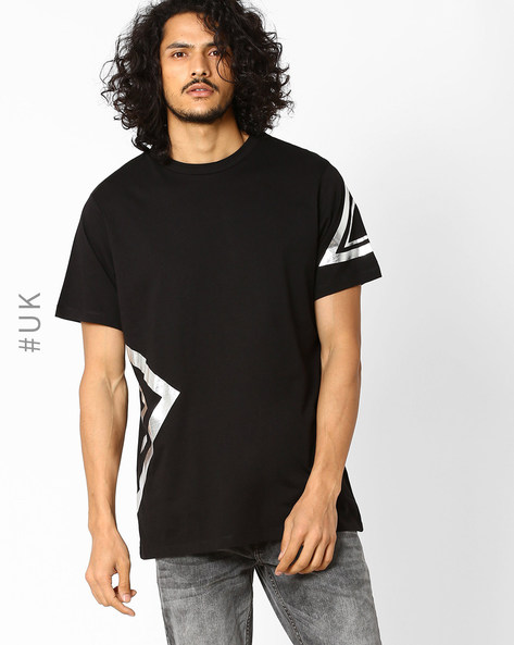 Crew-Neck T-shirt With Foil Print By Another Influence ( Black )