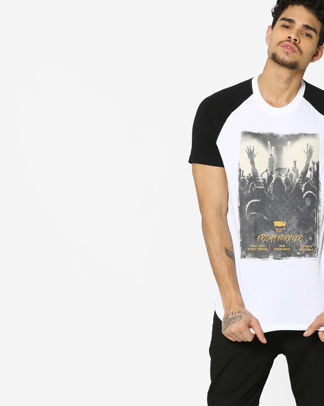 Graphic Print T-shirt With Contrast Sleeves By LEVIS ( White )