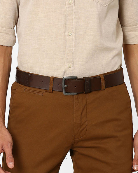 Leatherette Belt With Buckle Closure By LEVIS ( Brown )