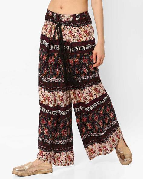 Floral Print Palazzo Pants By Oxolloxo ( Dkblue )