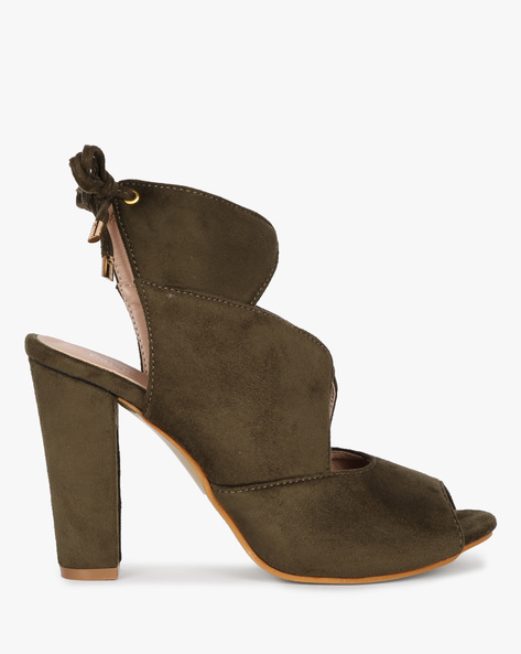 Tie-Up Heeled Sandal By MFT Couture ( Olive )