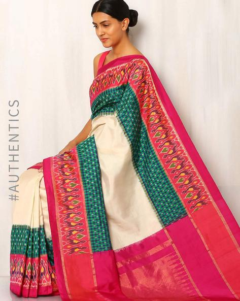 Handwoven Pure Silk Putapakka Telia Ikat Saree By Indie Picks ( Multi ) - 460015173001