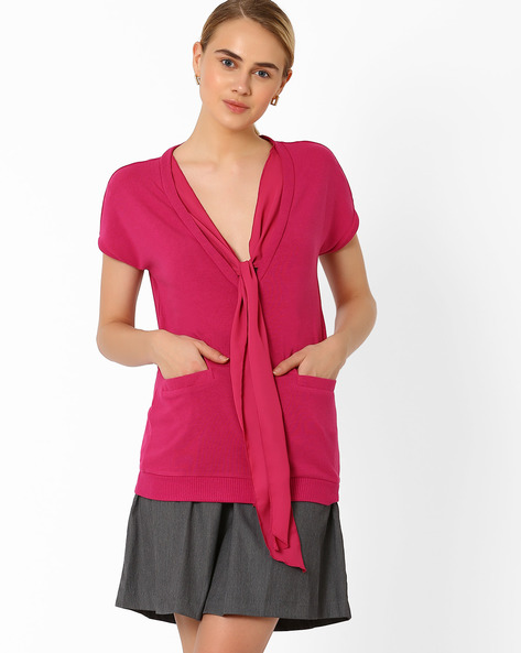 Top With Tie-Up Detail By AJIO ( Maroon )