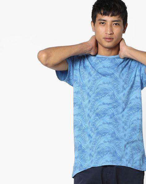 Tropical Print Slim T-shirt By BASICS ( Blue )