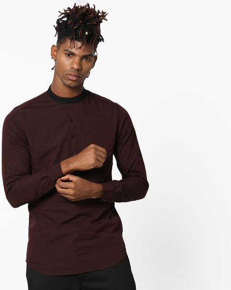 Slim Fit Shirt With Contrast Band Collar By Black Coffee ( Maroon )