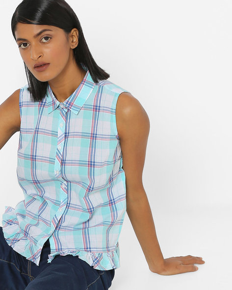 Sleeveless Shirt With Ruffled Trim By DNMX ( Blue )