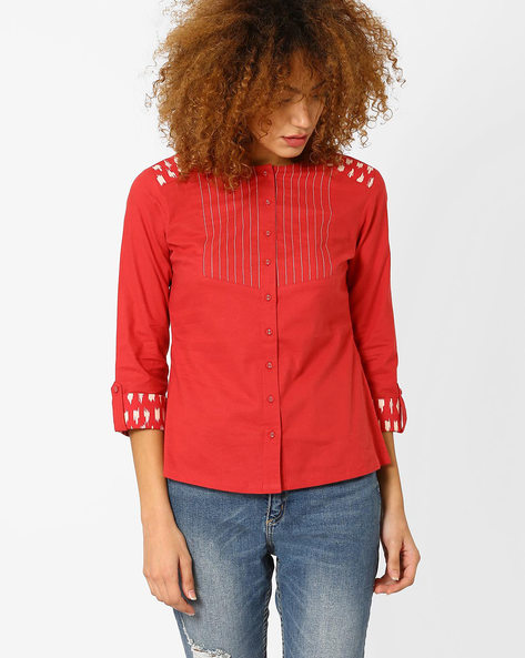 Shirt With Roll-Tab Sleeves By AJIO ( Coral )