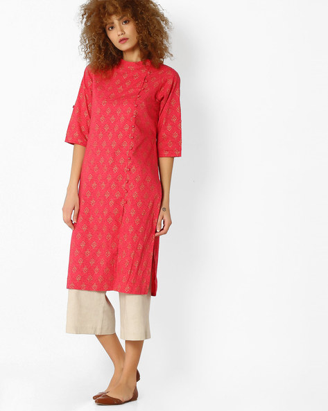 Printed Kurta With Band Collar By AYAANY ( Red )