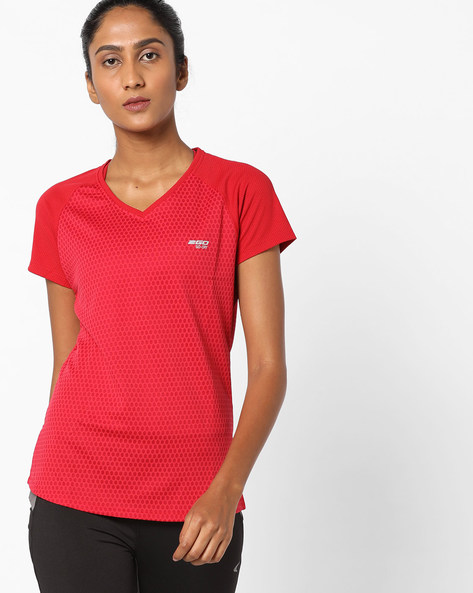 V-neck T-shirt With GoDRY Technology By 2Go ( Red )