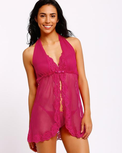 Lace Babydoll Nightdress By PrettySecrets ( Pink )