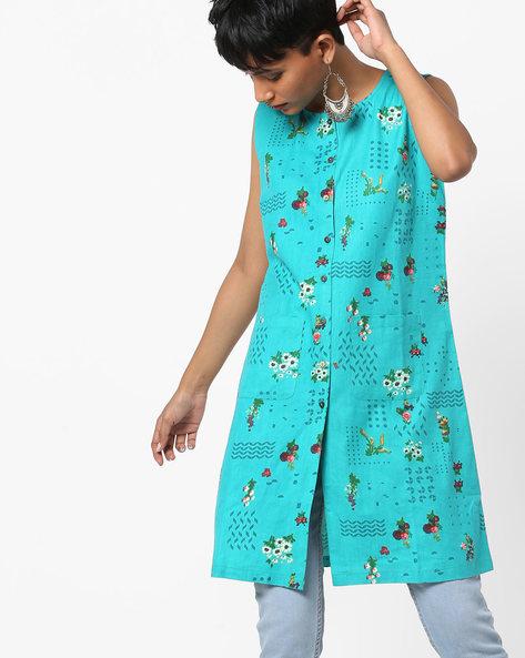 Floral Print Shirt Dress By AJIO ( Teal )