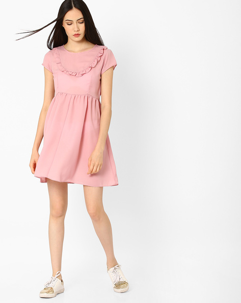 Fit & Flare Dress With Ruffled Detail By CHM ( Pink )