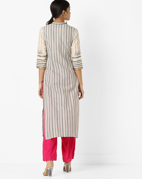 All-Over Print Straight Kurta By W ( Offwhite )