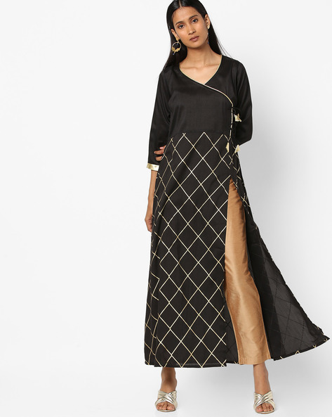Checked Long Kurta With Front Slit By ZIYAA ( Black )