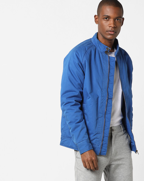 Zip-Front Jacket With Band Collar By FLYING MACHINE ( Assorted )