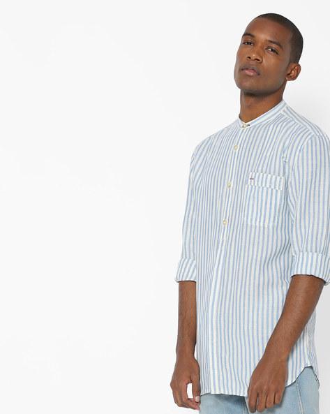 Cloud Dancer Striped Shirt With Mandarin Collar By Jack & Jones ( White )