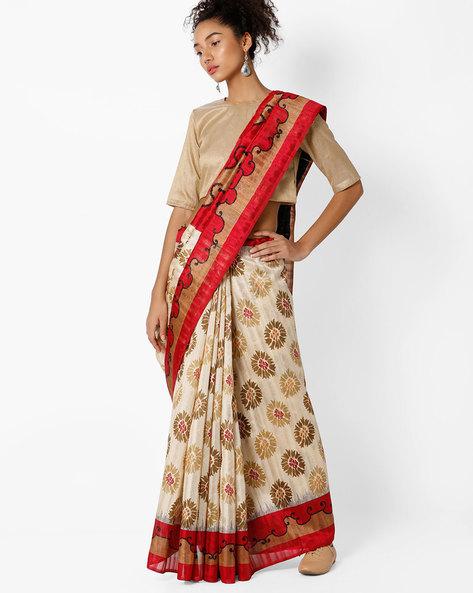 Bhagalpuri Silk Saree By Amori ( Beige )