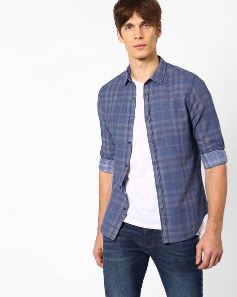 Micro Print Slim Fit Shirt By AJIO ( Blue )