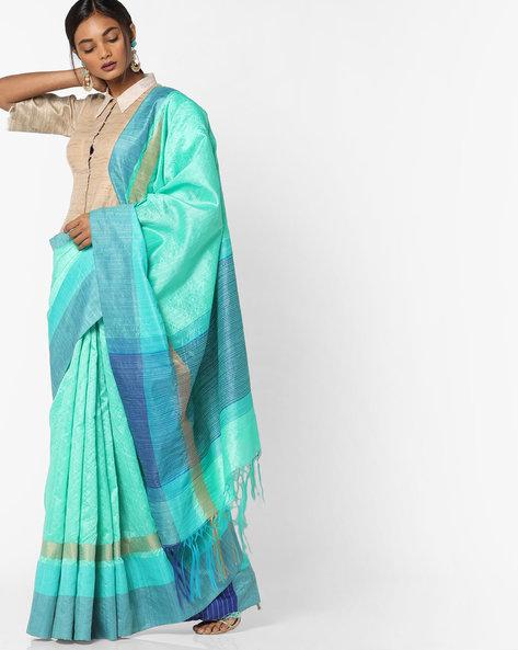 Woven Saree With Tasselled Pallu By Pihu ( Blue )