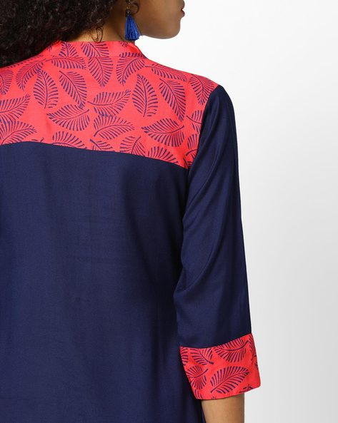 Embroidered Kurta With Front Slit By Shakumbhari ( Navyblue )