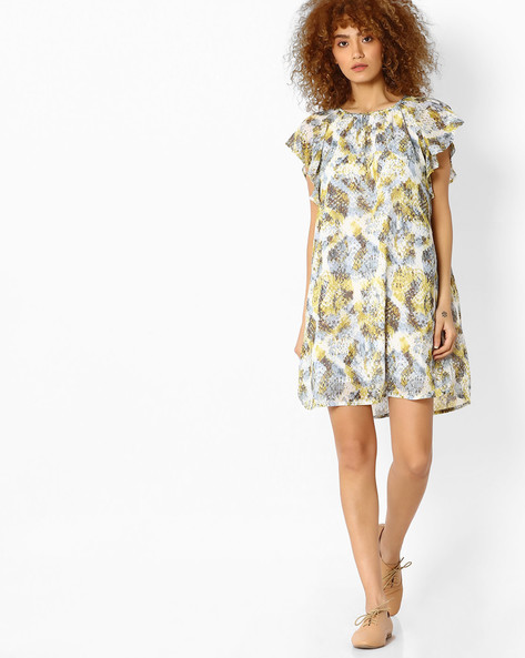 Printed A-line Dress With Flutter Sleeves By Femella ( Grey )
