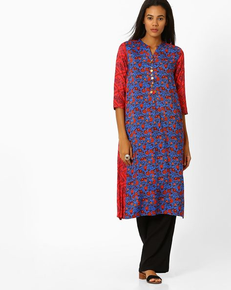 Floral Print A-line Kurta By Global Desi ( Multi )