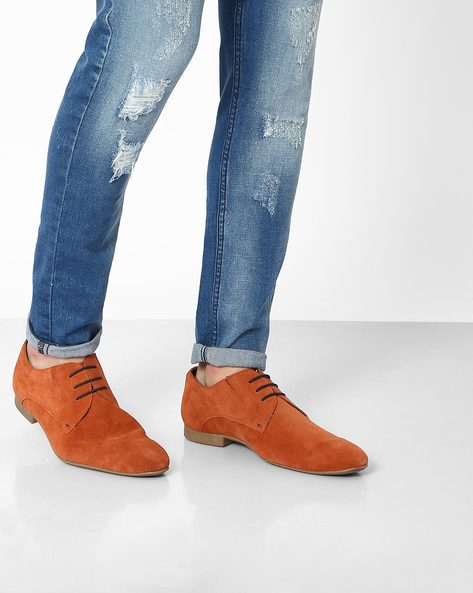 Genuine Leather Casual Shoes By AJIO ( Red )