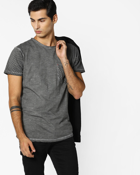 Slub-Knit T-shirt With Patch Pocket By RINGSPUN ( Grey ) - 460093617002