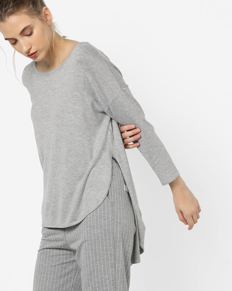High-Low Pullover With Drop-Shoulder Sleeves By Vero Moda ( Greymelange )