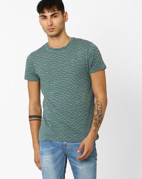 Aztec Print Slim T-shirt By ADAMO LONDON ( Green )