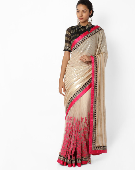 Striped Saree With Contrast Border By Mahotsav ( Beige )