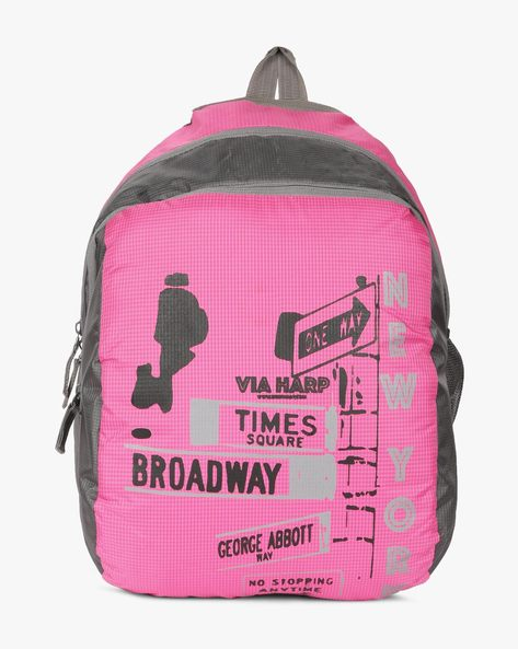 New York Print Backpack By Harp ( Pink )