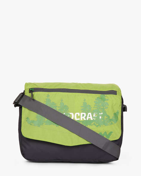 Printed Water-Resistant Messenger Bag By Wildcraft ( Green )